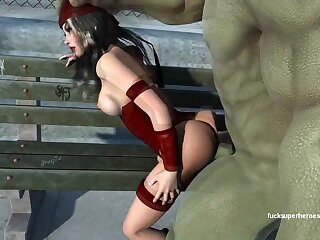 Hulk smashes procure Electra's penny-pinching cunt