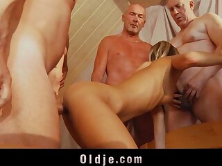 6 old dicks are firm fucking a young bore added to pussy